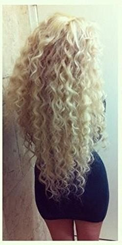 Ugeat #613 Bleach Blonde Virgin Lace Wig Cheveux Humains 16 Pouces Lace Front Bresilienne Wavy Kinky Curly Baby Hair Wigs