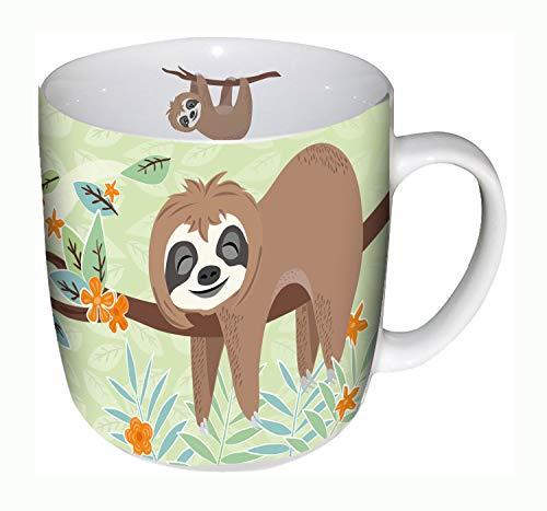 POS 28806088 - Tasse mit niedlichem Faultier Motiv, aus Porzellan, Fassungsvermögen ca. 400 ml, Spülmaschinen- und Mikrowellengeeignet, ideal für Kaffee und andere Getränke