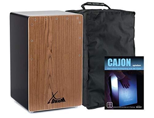 XDrum Cajon El Bajo Bass Port Black/Walnut Set (hochwertige Cajon mit Bass POrt, Edelholz-Furnier-Schlagflächen & fest installiertem Snare Teppich inkl. Gigbag & Cajonschule für Einsteiger)