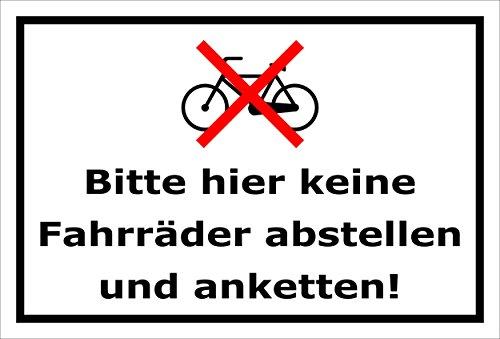 Melis Folienwerkstatt Schild - Fahrräder abstellen - 15x10cm | 3mm Aluverbund – S00050-022-A -20 Varianten