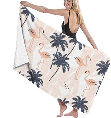 Toalla De Playa Lovely Flamingo Palm Tree Toalla De Playa Toalla De Baño Absorbente Suave Toallas Ligeras Súper Absorbentes,Adecuado Para Niños Y Adultos Toallas De Baño,Viajes,Yoga,Natación Y Picnics