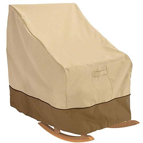 TOSBTD - Funda para silla mecedora de jardín, impermeable, tela Oxford, resistente al agua, para salón al aire libre, para sofá reclinable, 99 x 83 x 70 cm, color beige