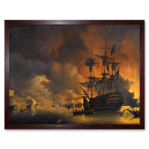 Baur Fire Ships Algiers Attack Anglo Dutch Painting Art Print Framed Poster Wall Decor 12x16 inch Feuer Schiff Niederländisch Gemälde Wand Deko