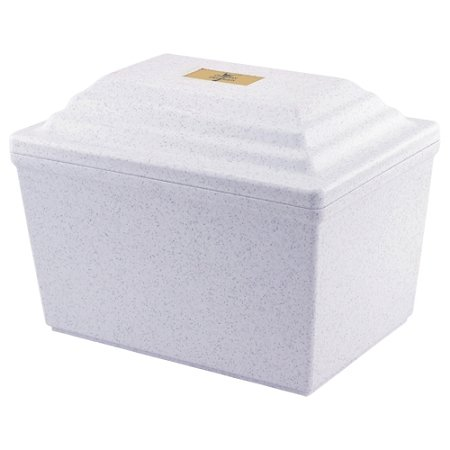Fortress Vault in White, Urn Vault for Burial, Adult Sized, Polymer Storage of One Cremation Urn for Burial of Ashes