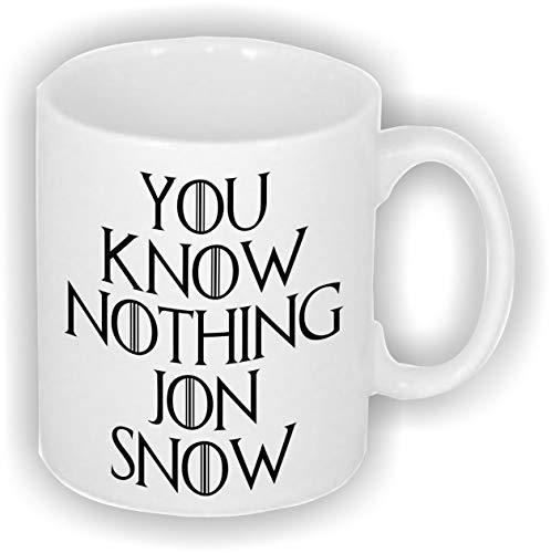 Taza de cerámica de Game of Thrones Stark Funny You Know Nothing Jon Snow de 325 ml, ideal para los fanáticos del reloj nocturno