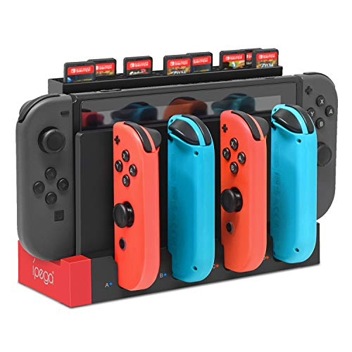 FYOUNG Ladestation für Switch Joy-Cons Controller, 4 in 1 Ladegerät und Abnehmbare Aufbewahrung Tasche für Spiele der Nintendo Switch