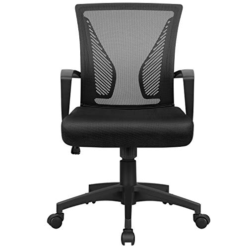 Homall Office Chair Desk Chair Fabric Mesh Chair Mid Back Swivel Computer Chair Lumbar Support Executive Chair Adjustable Height, Black