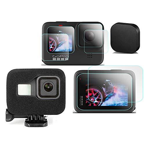 KOMET Protector de pantalla de espuma para parabrisas + lente y cristal LCD + tapa de lente compatible con cámara de acción GoPro Hero 9 / Hero 9 (6 unidades)