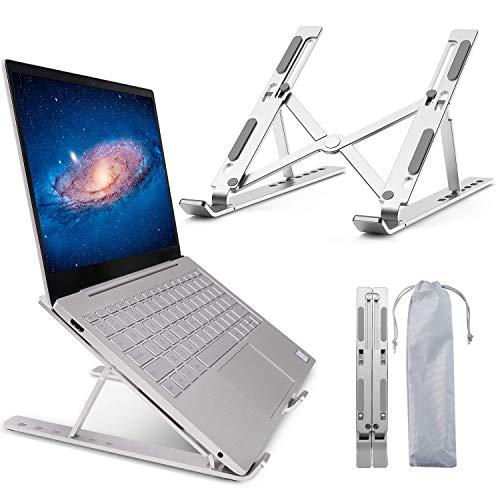 """WKTRSM Soporte Portátil Mesa 6 Ángulos Ajustables Soporte Ordenador Portatil Ventilado Plegable Laptop Stand Aleación de Aluminio Soporte para Macbook PC Tablet iPad 10-15.6"""""""