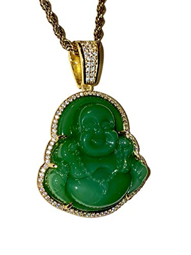 Iced Laughing Buddha Green Jade Pendant Necklace Rope Chain Genuine Certified Grade A Jadeite Jade Hand Crafted, Jade Necklace, 14k Gold Filled Laughing Jade Buddha Necklace, Jade Medallion, Fast Prime Shipping Medusa Iced Green Buddha Rope Chain Necklace 20' (20)