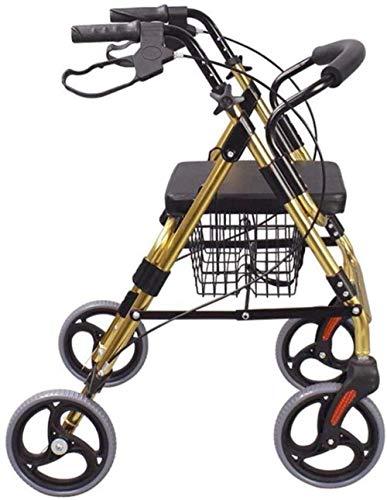 Andadores para discapacidad Andador para Ancianos Mayores de 4 Ruedas Rollator Walker con Asiento Acolchado, Frenos bloqueables Rollator Walker con Acolchado de Asiento