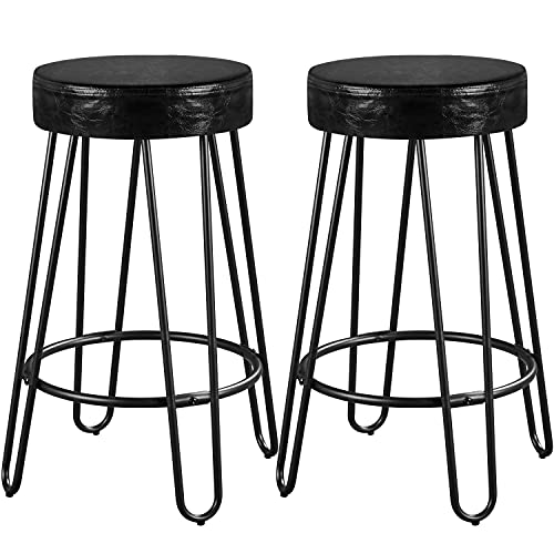 Yaheetech Bar Stools Faux Leather Seat Set of 2 Barstools Round Backless Counter Stools Bar Stool Chairs for Kitchen/Dining Room/Living Room