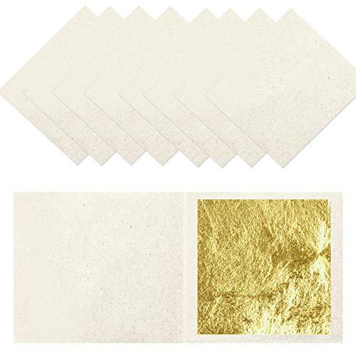 funvce 10 Blatt Blattgold 24 karat 4.33x4.33cm Goldfolie zum Basteln Lebensmittel Kuchen Backen Torten Dekorfolie Kunsthandwerk