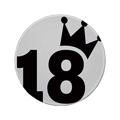 Alfombrilla de ratón Redonda de Goma Antideslizante decoración del 18 ° cumpleaños Camiseta de fútbol de Dibujos Animados Parece atrevida impresión de Arte de 18 números Blanco y Negro 7.9'x7.9'x3