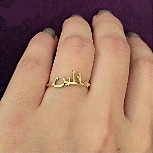 YANGYUE Anillo árabe Encanto Acero Inoxidable Adorno Dorado Anillo de Bodas Mujer...