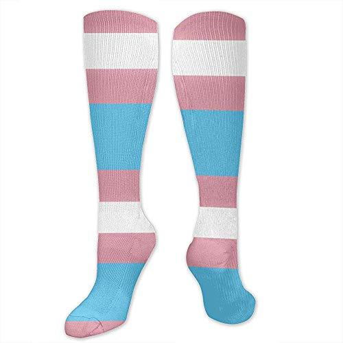 Knee High Compression Socks 15-20 Mmhg Best Medical Nursing For Men & Women - Transgender Pride Flag Pink & Blue Sign Long Stockings