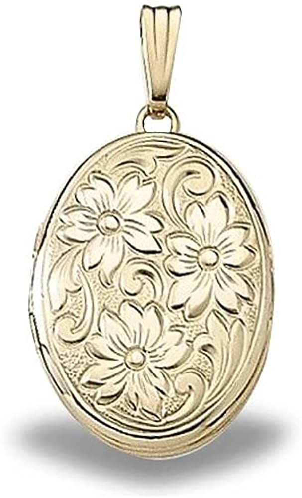 Solid 14K Yellow Gold Floral Locket - 5/8 Inch X 3/4 Inch Solid 14K Yellow Gold WITH ENGRAVING
