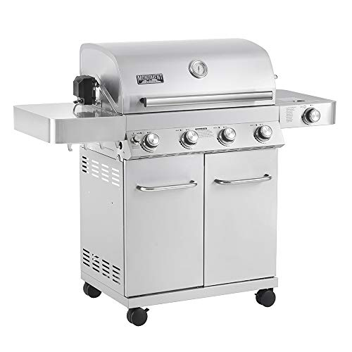 Monument Grills 17842 2020 Upgrade 4-Burner Stainless Steel Propane Gas Grill with LED Controls, Side Burner, Built in Thermometer, and Rotisserie Kit