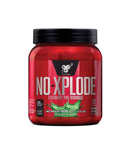 BSN N.O.-Xplode Pre Workout Booster, Energy Drink mit Creatin, Vitamin C, Vitamin D, Vitamin B Komplex, Arginin, Koffein und Beta Alanin, Green Apple, 30 Portionen, 600g