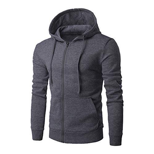 Men's Hoodie Jacket Long Sleeve Full Zip Hooded Sweatshirts Spring Jackets Top Autumn Casual Stylish Hoodie Winter Lightweight Solid Colour Hoodie Sweatshirt Sports Outwear L Dark Gray