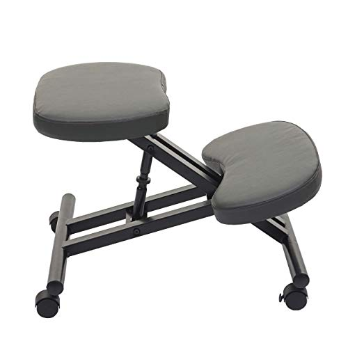 Mendler Sedia Sgabello posturale ergonomica HWC-E10 Ecopelle Grigio Scuro
