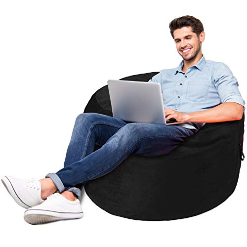 Amazon Basics Memory Foam Filled Bean Bag Chair with...