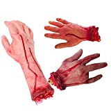 Sage Square Combo of Fake Cosmetic Bloody Arm Hand for Prank Halloween Party Props Cosplay Decorations (Set of 3) (Long Hand & 2 Short Hand)