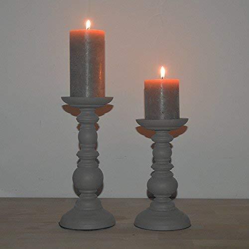 DRULINE Kerzenhalter im Shabby Chic/Landhaus Stil aus Holz,Kerzenleuchter, Leuchter, geeignet für Stumpenkerzen |H x D 20 x 10 + 25 x 10 cm | Klein&groß | Anthrazit