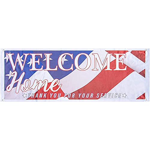 Juvale Welcome Home Deployment Banner - American Flag Decorations for Military, Army, Soldier, Marine, Navy, and USMC, 62.2 x 22 Inches