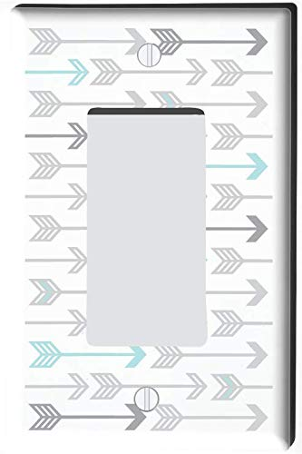 Seafoam Green and Grey Arrow Print Pattern Light Switch Plate and Outlet Covers/Arrows Woodland Forest Nursery Wall Decor for Baby (Single Rocker GFCI)
