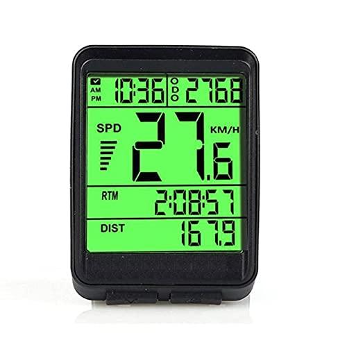 DSMGLSBB Computadora De Bicicleta, Pantalla LCD De 2,1 Pulgadas Odómetro Multifunción para Bicicleta, Medidor De Velocidad Inalámbrico Digital para Bicicleta De Carretera MTB,Verde