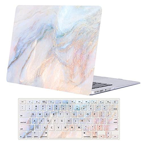 ACJYX Funda para 2020 2019 2018 MacBook Air 13 Pulgadas A2337 M1 A2179 A1932, Plástico Carcasa Rígida Cubierta con Tapa del Teclado para Nuevo MacBook Air 13 Retina y Touch ID - Mármol Rosa Azul