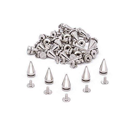 Trimming Shop 50 Stück von Silber Kegel Screwback Spikes Nieten 14mm für Tüte Kleidung Punk Stil Stein Leder Jacke Schuhe