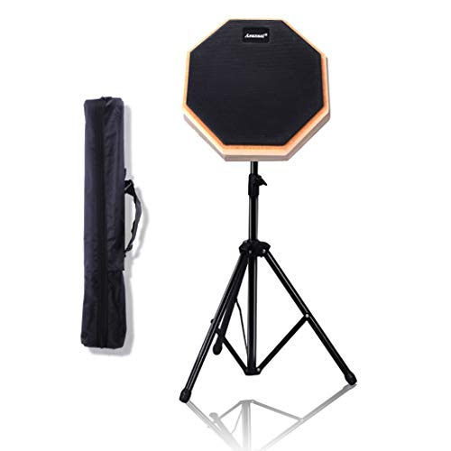 """Asanasi Twinkle Goods 8"""" Drum Pad, Practice Pad with Stand, Storage Bag, Rubber, High Rebound"""