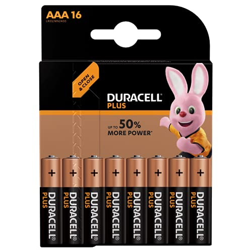 Duracell 81553297 Plus Power Batteria Alcalina di Tipo AAA 16, Nero