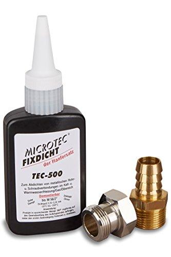 Microtec® Fixdicht Dichtmittel TEC-500   50g   Gewindedichtung und Schraubensicherung   Der Hanfersatz aus der Flasche   extra hohe Hitzebeständigkeit   sicheres Gewindedichtmittel   DVGW