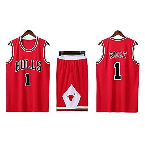 QJJ Camiseta De Baloncesto Derrick Rose 1#, Traje De Uniforme De Baloncesto De Los Chicago Bulls Swingman, Ropa Deportiva del Equipo De Competición para Adultos Y Niños red-3XL