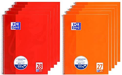 Oxford Schule Collegeblock A4, 5 linierte und 5 karierte Blöcke, rot, orange, 10er Pack