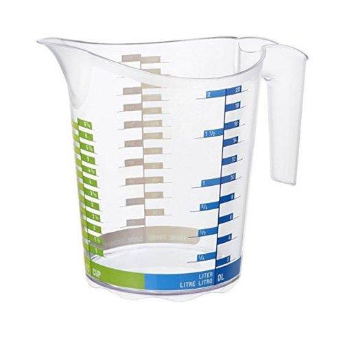 Rotho Domino großer Messbecher 2l mit Skala, Kunststoff (PP) BPA-frei, transparent, 2l (22,1 x 15,4 x 19,3 cm)