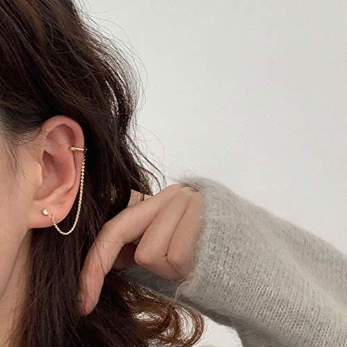 liuliu Minimaliste Or Cristal Goujon Lien chaîne oreillette Piercing Oreille Boucles d'oreilles pour Femmes 2021 Accessoires Bijoux de Mode
