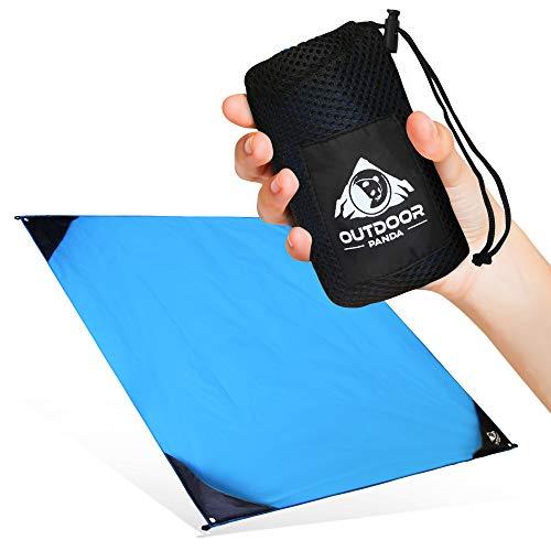 Outdoor Panda NEU 155x140cm Pocket Blanket Große & ultraleichte Camping Picknickdecke/Stranddecke aus wasserfestem Nylon mit kompaktem Packmaß in Blau | Perfekt für Wandern und Trekking