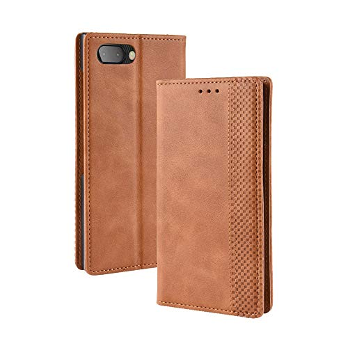 MyCase for BlackBerry KEY2 / KEYtwo (BBF100-1, BBF100-2, BBF100-6) Business PU Leather+PC Design Magnetic Closure Flip Wallet Protective Case Cover (Color : Brown)