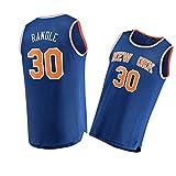 LZZQMR Camisa de Baloncesto para Hombre Adecuado para Knicks # 30 Randle Basketball Jersey, Chaleco de Malla Bordado, Ventiladores Transpirables Camiseta Blue-S