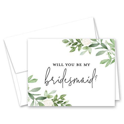 Watercolor Greenery & Floral Bridal Proposal Will You be My Bridesmaid Card, Bridesmaid Proposal Card, Maid of Honor Card - Set of 10
