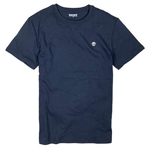 Timberland Mens Crew Neck Retro Plain Small Tree Logo T-Shirt Cotton Tee (Navy, Medium)