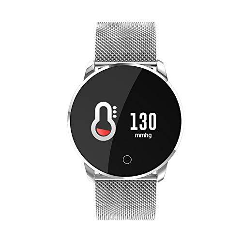 H&YL Fitness Armband,Mit Pulsmesser Wasserdicht IP7 Fitness Tracker Farbbildschirm Aktivitätstracker Schrittzähler Uhr Vibrationsalarm Anruf SMS Smart Business Sport Armband,Silver