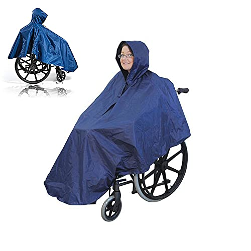 UUK Poncho para Silla De Ruedas, Impermeable, Capa para Silla De Ruedas con Capucha, Sin Mangas, De Cuerpo Completo, Capa De Lluvia para Silla De Ruedas para Pacientes Ancianos Discapacitados