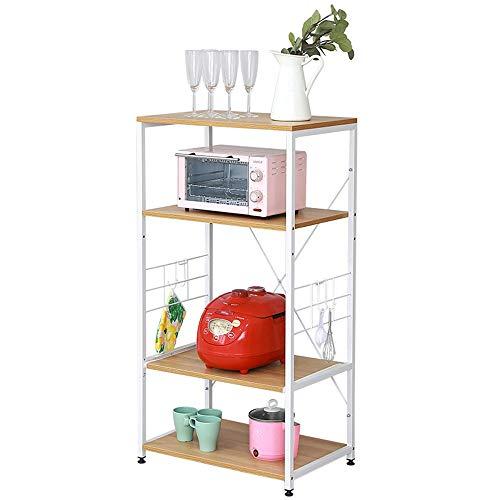 JCNFA planken keuken opslag planken, staande magnetronplank, schotelrek Spice Rack, meerlaagse opslag rack opslag Rack, rekbaar laminaat verstelbare voetenpad, 2 stijlen 23.62*15.74*45.27in Teak+white