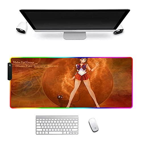 Sailor Moon Alfombrilla de ratón Animada RGB Alfombrilla de ratón ergonómica Grande XXL para Juegos con Bordes cosidos para Oficina y hogar 900x300x4mm D
