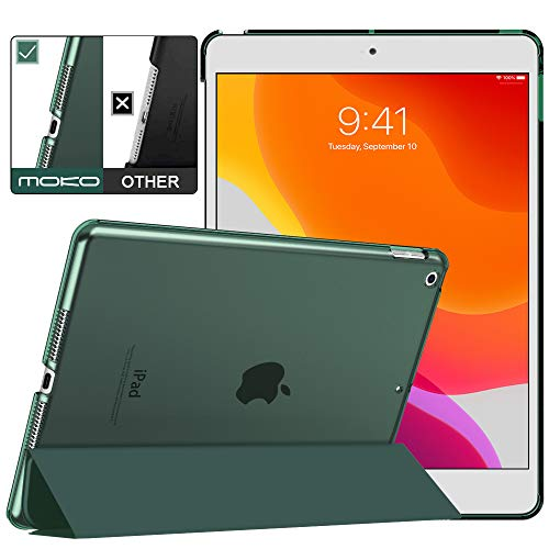 MoKo Case Fit New iPad 7th Generation/iPad 10.2 2019 Case - Slim Lightweight Smart Shell Stand Cover with Translucent Frosted Back Protector for iPad 10.2' 2019, Midnight Green(Auto Wake/Sleep)